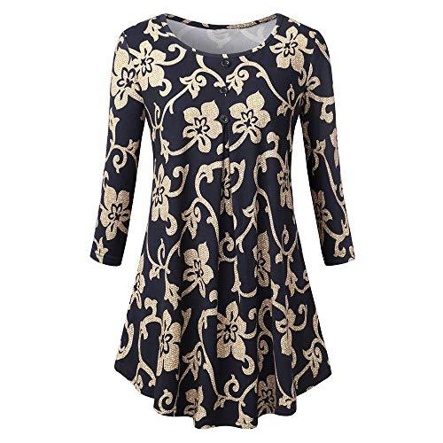 VEMOW Sommer Herbst Elegant Damen Oberteil Langarm O Neck Printed Flared Floral Beiläufig Täglich Geschäft Trainieren Tops Tunika T-Shirt Bluse Pulli(X3-Schwarz, EU-46/CN-2XL) -