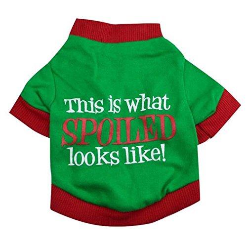 Weihnachten Baumwolle Haustier Kleidung, Hmeng Hund Doppel Farbe Brief Welpen Shirt Kapuzenpullis Kleidung (S, Grün)