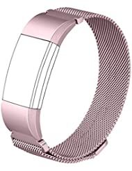 Für Fitbit Charge 2 Band, Wearlizer Milanese Loop-Smartwatch Ersatzband Edelstahl-Armband Fitness Armband für Fitbit Charge 2