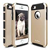iPhone 5S Case, iPhone SE Case, Hinpia [Seaplays] Hybrid Dual Layer Shockproof iPhone 5 Case Heavy Duty Hard PC + Soft TPU Cover for Apple iPhone 5S / iPhone SE (Gold/Black)