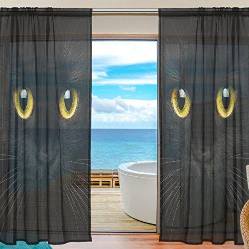 DOSHINE Vorhang für Halloween, Tiere, Schwarze Katzen-Gesicht, für Jungen Mädchen, Wohnzimmer, Badezimmer, Schlafzimmer, 139,7 x 198 cm, 2 Paneele, Polyester, Multi, 55