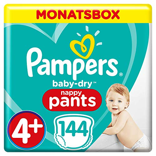 Pampers Baby-Dry Pants, Gr. 4+, 9kg-15kg, Monatsbox (1 x 144 Pants)