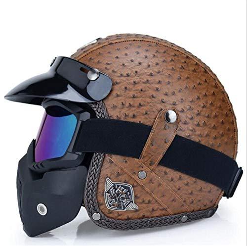 Qiutianchen Casco moto Vintage Harley Casco moto casco incrociatore 3/4 in pelle Casco moto jet aperto Jet Casco motociclistico@Punto d'onda marrone con maschera facciale_M