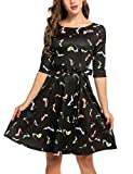 Trudge Damen Weihnachtsbäume Weihnachtsmann Elch Skaterkleid Basic Kleid Swing Festlich Kleid Herbst Winter, C+Stiefel, EU 44(Herstellergröße: XXL)