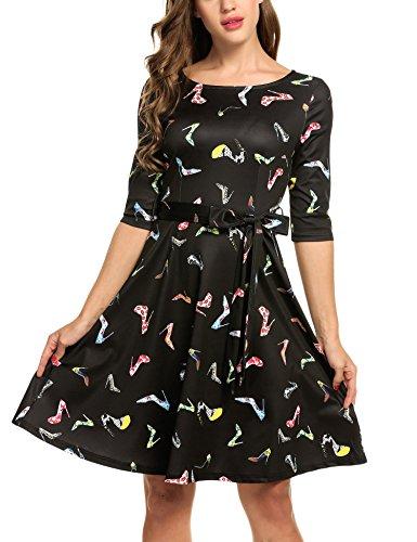 Trudge Damen Weihnachtsbäume Weihnachtsmann Elch Skaterkleid Basic Kleid Swing Festlich Kleid Herbst Winter, C+Stiefel, EU 42(Herstellergröße: XL)