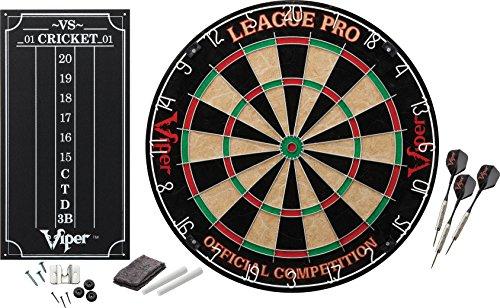 Viper League Pro Spitze aus Sisal/Bristle Dartscheibe mit frei von Klammern sind Bullseye und Cricket Scoreboard Kit