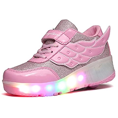 KISCHERS Unisex Kids Led Wheel Roller Skate Shoes Retractable Outdoor Sport Flashing Sneaker for Girls Boys (UK 10 Child,