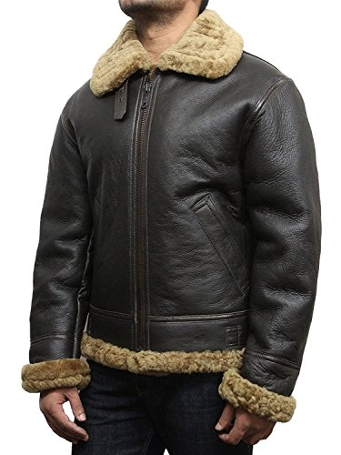 Brandslock Hommes Aviator B3 Guerre mondiale 2 Real peau retournée Sheepskin Flying jacket Marron