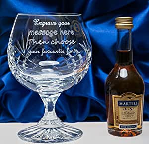 Engraved/Personalised Crystal Brandy Glass & Martell in Silk Gift Box Wedding/Fathers Day Gift