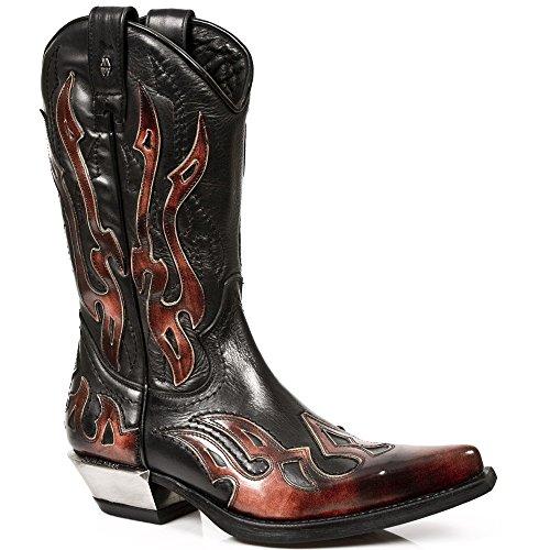 New Rock Boots Hommes Botte - Style 7921 S2 Rouge & Noir Rouge