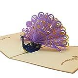 Milopon Grußkarte Pop Up 3D Pfau Karte blanko für Geburtstagsgrüße Geburtstagskarte Glückwunschkarte Einladungskarte Oder Ausgefallene Hochzeitskarte mit Umschlag (lila)