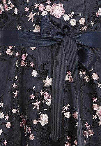 Kleider Rundhals nachtblau-multicolor