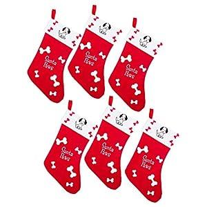 by Robelli Lot de 6 Chaussettes pour Chien Motif Pattes de Père Noël