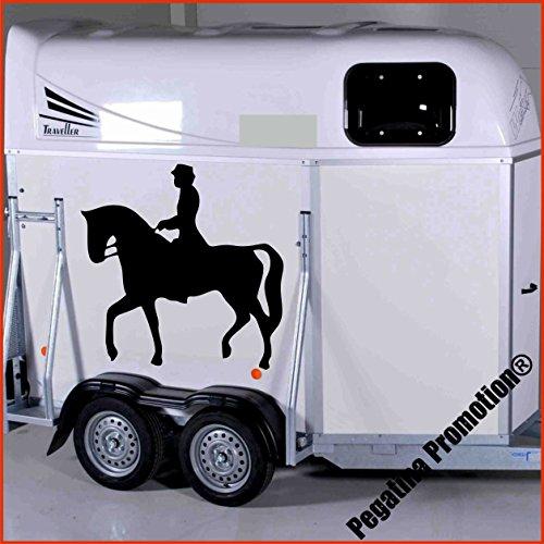Preisvergleich Produktbild Dressurreiter auf Dressurpferd Aufkleber Anhänger Pferd Anhänger ca. 80x60cm