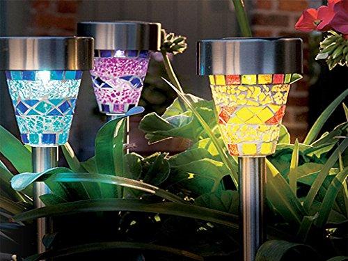 Solar-Leuchten, Edelstahl, mit Mosaik im marokkanischen Stil, für Garten / Terrasse, Laternen, schönes Nachtlicht, Dekolicht (Solar Gate-leuchten)