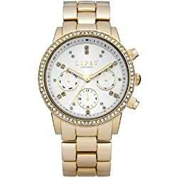 LIPSY Women's Quartz Watch with White Dial Analogue Display and Gold Stainless Steel Bracelet LP168