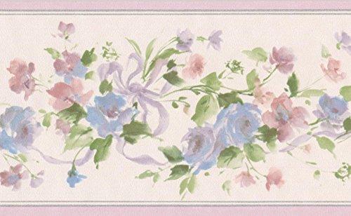 Blau Rosa Blumen auf grün Vine Floral Tapete Bordüre Retro Design, Rolle 15'x 8,9cm -