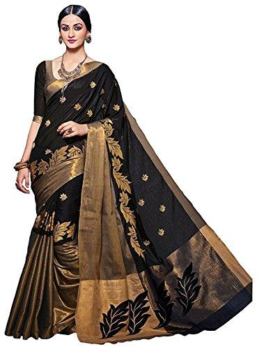 Macube Women's Cotton Silk Saree With Blouse Piece (Ms810_00_Black)
