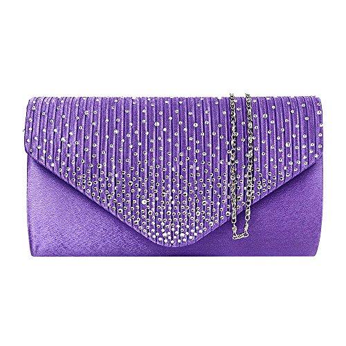 Tedim Satin Plissee & Schaum Diamante Clutch Handtasche/Damen Mädchen Designer-Hochzeits-Umhängetasche/Abendtasche (Lila) -