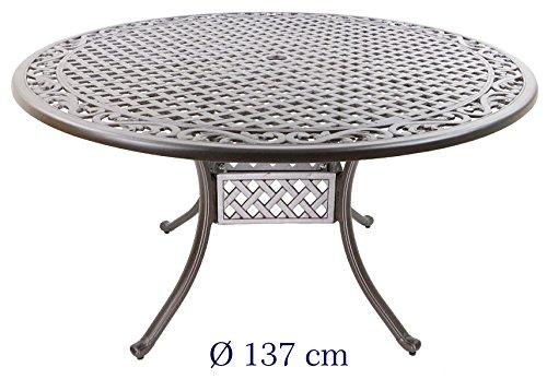 Hanseatisches Im- & Export Contor GmbH Table de Jardin, Fonte d\'aluminium,  Rond, Ø 137 cm, Hauteur 72 cm
