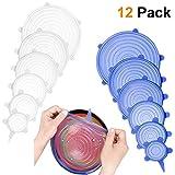 KOLIER 12 Pack Silikondeckel, Dehnbar & Flexibel Deckel In 6 Unterschiedliche Größen für Dosen, Töpfe & Schüsseln, Universal Silikon Deckel (Weiß und Blau)