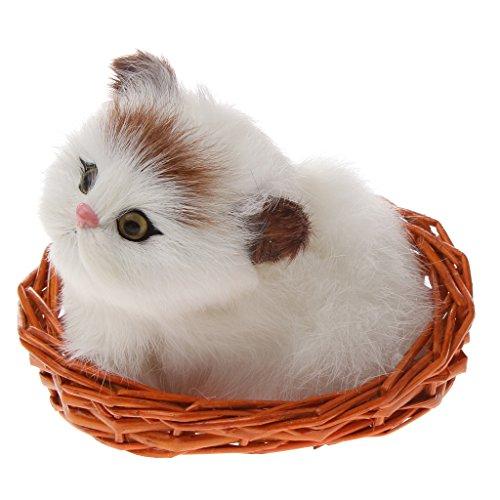 MagiDeal Lebensecht Plüschtier Plüsch Katze Sitzt im Korb Stofftier -