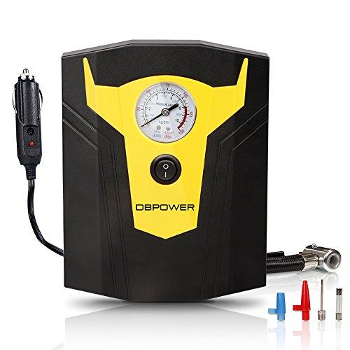 DBPOWER 12V DC Luftkompressor, digitale Reifenpumpe mit 150PSI samt digitaler Anzeige, 3 Hochdruckdüsen & Adapter für Autos, Fahrräder und Basketbälle (Schwarz und Gelb)
