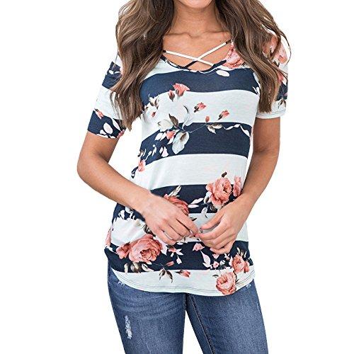 PorLous T-Shirt, Frau 2019 Kurze Ärmel Mode Frauen Kurzarm Floral Striped Sommer Sexy Casual Bluse Top T-Shirts Elegant Bequem Groß