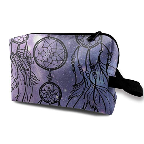 With Wristlet Cosmetic Bags Space Dream Catcher Travel Portable Makeup Bag Zipper Wallet Hangbag -