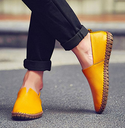 YiLianDa Chaussures Confortables Pour Homme En Cuir Sandales Mule Jaune(trou)