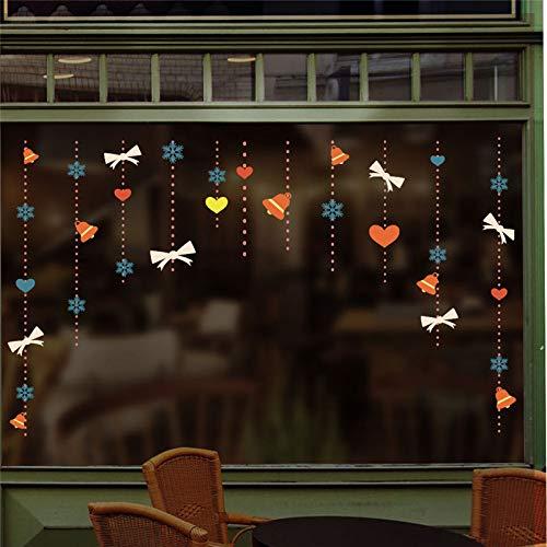 LEELIYA Happy New Year Rose Stickers Murali Shop Window Home Decor Accessori Buon Natale Adesivi Murali Carta da Parati in PVC