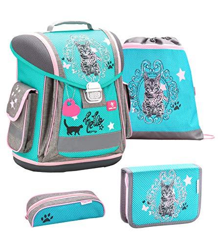 Belmil ergonomischer Schulranzen Groß Set 4-teilig für Mädchen 1, 2, 3, Klasse/Leicht: 950-1000 g/türkis grau Katze, Cat (404-5 Hello) -