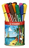 Stabilo Trio Pot métal de 16 feutres Scribbi - 8 couleurs assorties