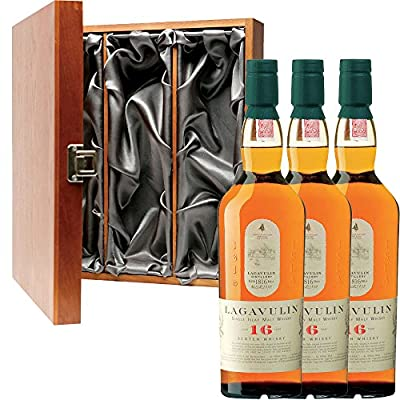 3 x Lagavulin 16 Year Old Single Malt Scotch Whisky in Elm Wood Gift Box With Handcrafted Gifts2Drink Tag