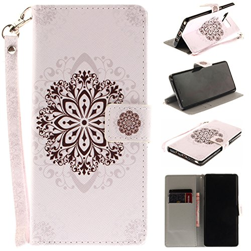 Ooboom® iPhone X Coque PU Cuir Flip Housse Étui Cover Case Wallet Portefeuille Supporter Stand Porte-cartes Dragonne pour iPhone X - Fleur Bleu Fleur Noir