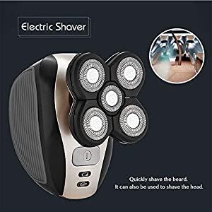 Ke Mei 5 in 1 Men's Electric Shaver Grooming Kit Five-Headed Beard, Hair Razor for a Perfect Bald Look, Cordless and USB Rechargeable
