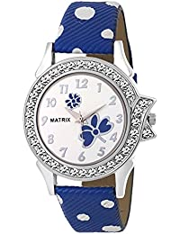 Matrix White Dial & Blue Leather Strap Analog Watch for Women's/Girls- (WN-32)
