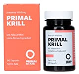 Primal Krill Oil Omega-3 Oil, EPA, DHA and Astaxanthin Sustainable Antarctic Wild Origin, Supports Brain, Heart & Eye 60 Capsules x 500mg