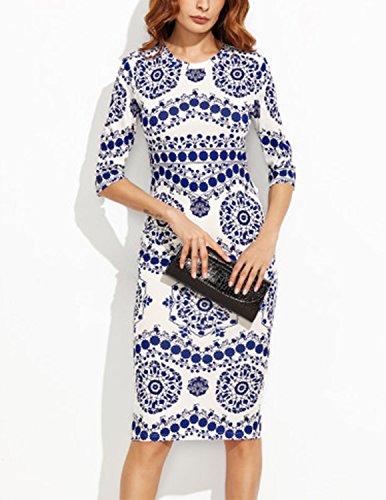 M-Queen Femme Robe de Soirée Crayon Rétro Vintage Moulante Slim Robe Floral Imprimé 1/2 Manche Au Genou Robe Blanc