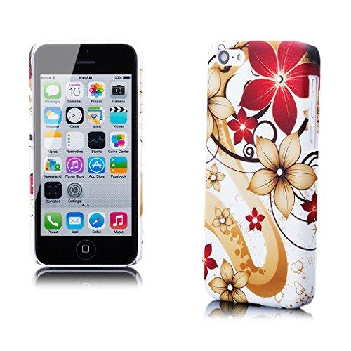 Apple iPhone 5C | iCues strass fleurs Cas de fleur noire | [Protecteur d'écran, y compris] paillettes paillettes strass motif motif luxe bling dames femmes filles protection de la peau Housse de prote Creme Blume