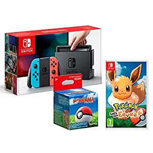 Nintendo Switch 32Gb Neon-Rot/Neon-Blau + Pokémon: Let´s Go, Evoli! + Poké Ball Plus