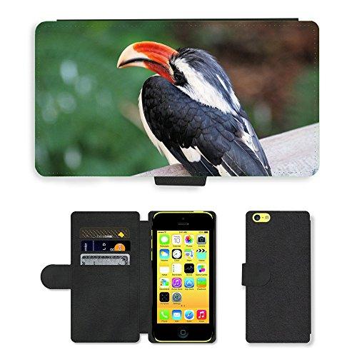 Just Mobile pour Hot Style Téléphone portable étui portefeuille en cuir PU avec fente pour carte//m00139529Calao Bec d'oiseau tropical Bill//Apple iPhone 5C