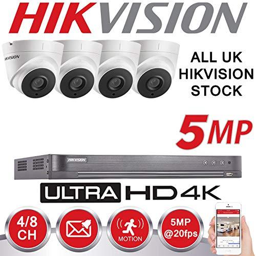 Hikvision Kit de vidéosurveillance 5 MP 4 K UHD DVR 4 CH HD pour extérieur  Caméra de sécurité Domestique Disque Dur 2 to