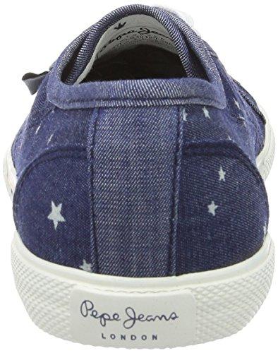 Pepe Jeans London Aberlady Star Jeans, Scarpe da Ginnastica Basse Donna Blu (Marine)