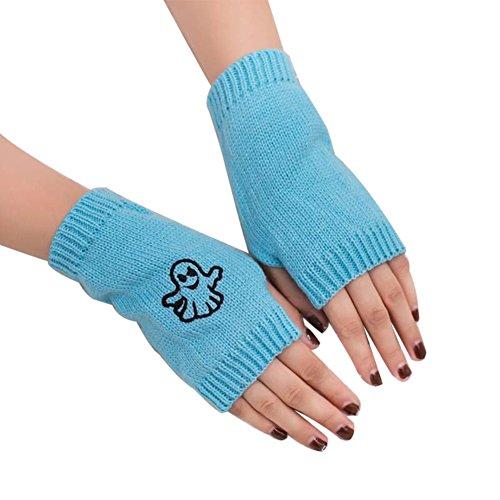 AchidistviQ - Guantes de Invierno para Mujer, diseño de Fantasma Azul Azul Claro