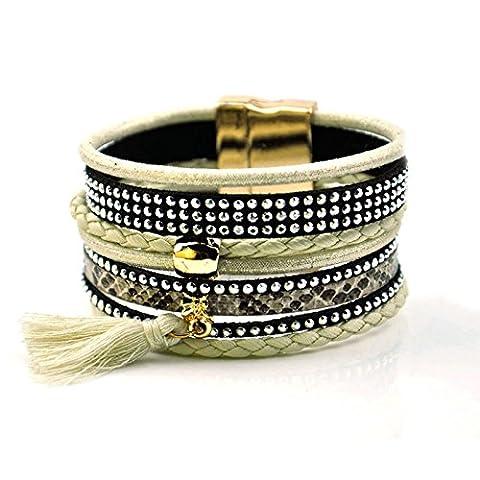 BeyDoDo Modeschmuck Armband für Damen Boho Handgemachte Geflochtene Multilayer Armreif mit Quaste Wickelarmband Charm Armreif (Krone Für Weihnachten Szenen)