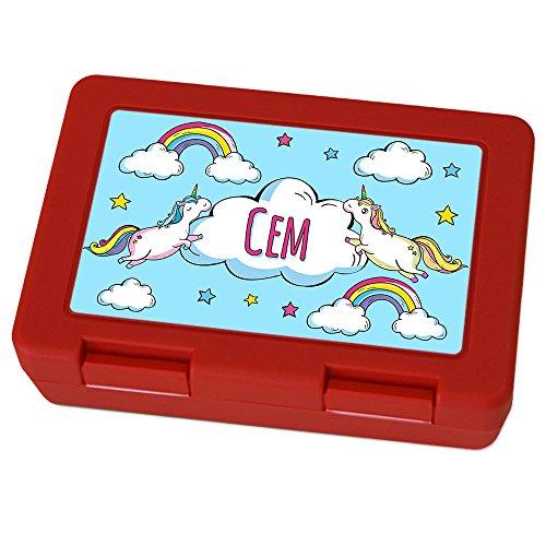 Brotdose mit Namen Cem - Motiv Einhorn, Lunchbox mit Namen, Brotdose Rot - Frühstücksdose Kunststoff lebensmittelecht