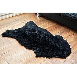 Meryno - Lujo de piel de oveja negra Alfombra alfombras lana suave natural - Negro, small
