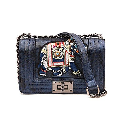 Retro Schulter Umhängetasche, Fashion Lady Kleine Kette Tasche Elegante Bankett Umhängetasche (Farbe : Blue)