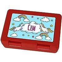 Preisvergleich für Brotdose mit Namen Cem - Motiv Einhorn, Lunchbox mit Namen, Frühstücksdose Kunststoff lebensmittelecht